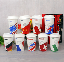 Custom European Cup national team coffee cup ceramic with silicon lid