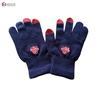 High quality custom embroidery logo knitted touchscreen gloves for adults