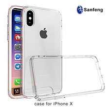 For iPhone X Hard Case, Crystal Clear Back Shock Absorption Bumper Mobile Phone Case Cover for iPhone X