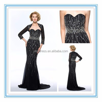 2015 New Arrival Sweetheart Beading Sweep Train Sexy Mother of the Bride Dress/Gown With Jacket/Shawl (DVMD-8468)
