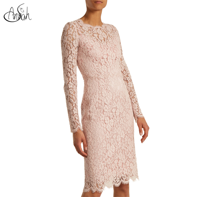 2018 Wholesale new arrival fashion casual long sleeve lace dresses elegant pink women dress for lady