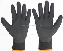 Suncendsafety double nappy acrylic and nylon liner 3/4 coated black nitrile sandy finish cold gel gloves