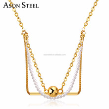 Boho Multilayer Statement Necklaces Simulated Pearl And Gold Color Ball Stainless Steel Tube Pendant Necklace Female Jewelry