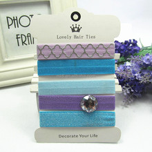 Lt Blue& Lilac Unique girls hair tie with balls fashion accessories