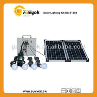 OS-S1203 led dc solar lighting system 20w portable & rechargeable solar pv kit with mobile charger