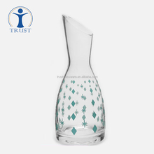 Wholesale Hand Made Promotional New Designed Clear Water Jug With Decal Drinking Big Size Glass Pitcher