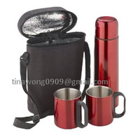 Stainless steel vacuum flask gifts set 2pcs coffee mugs + 500ml vacuum flask with bag sets