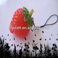 Artificial keychain lifelike fake red strawberry fruits for buisness promotion gifts