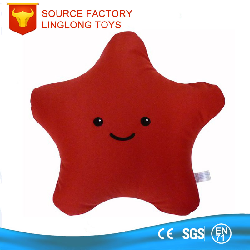 Birthday Gift pentagram Plush Back Support Cushion Red Lucky Star Stuffed Throw Pillow Soft Heart Emoji Bolster