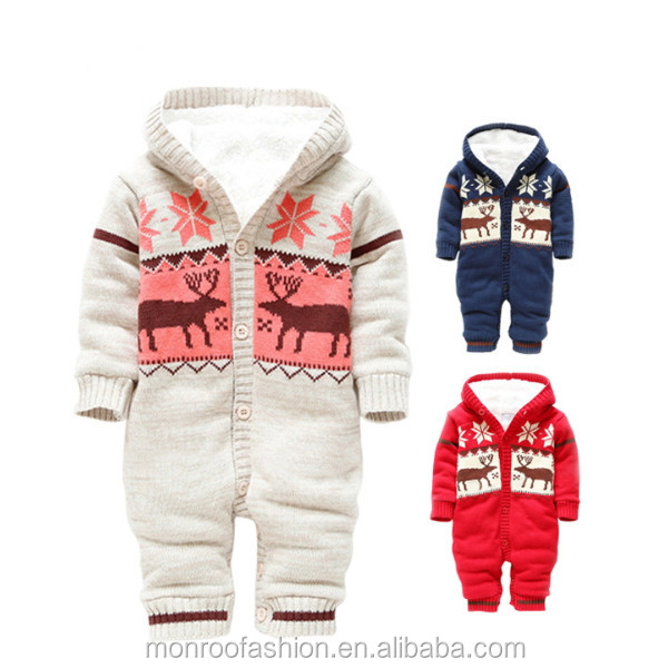 monroo fashion winter baby Christmas style newborn rompers