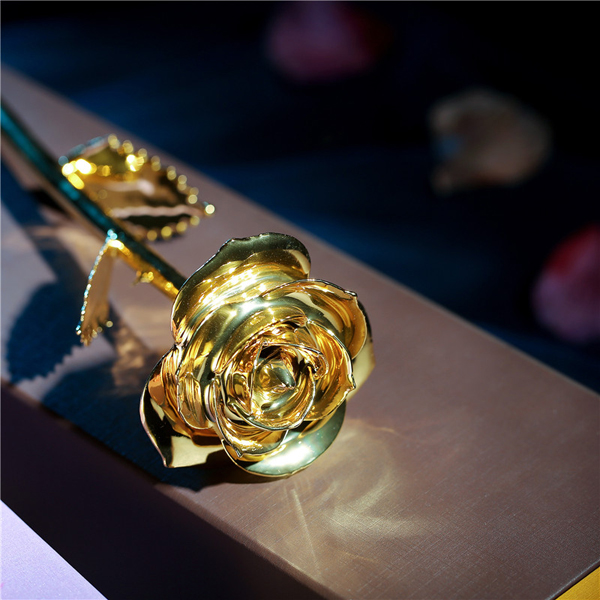 gold flower 11 inch real rose flower with 24k gold plated