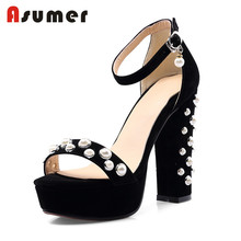 Asumer custom leather sex high heel ladies fancy sandal