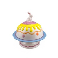 Wholesale Easter Design Ceramic Bread Plates,Cake Plate with Cake Cover