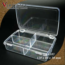 Clear Plastic container with hinged lid and 4 compartments large Jewelry organizer box