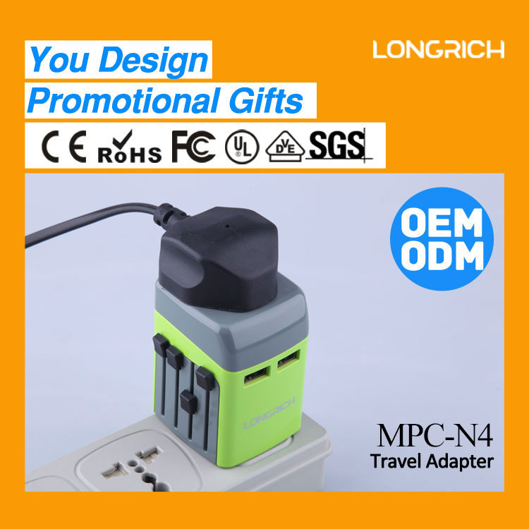 OEM&ODM products USB universal travel adapter plug with 2.1A 1000mA dual usb output ,mobile phone charger stock (MPC-N4)