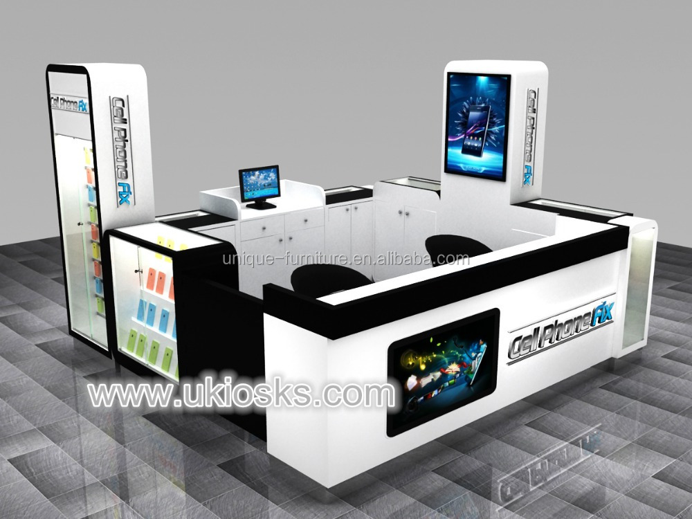 Hot sale mobile counter design, mobile shop display counter, cell phone repair kiosk used in USA