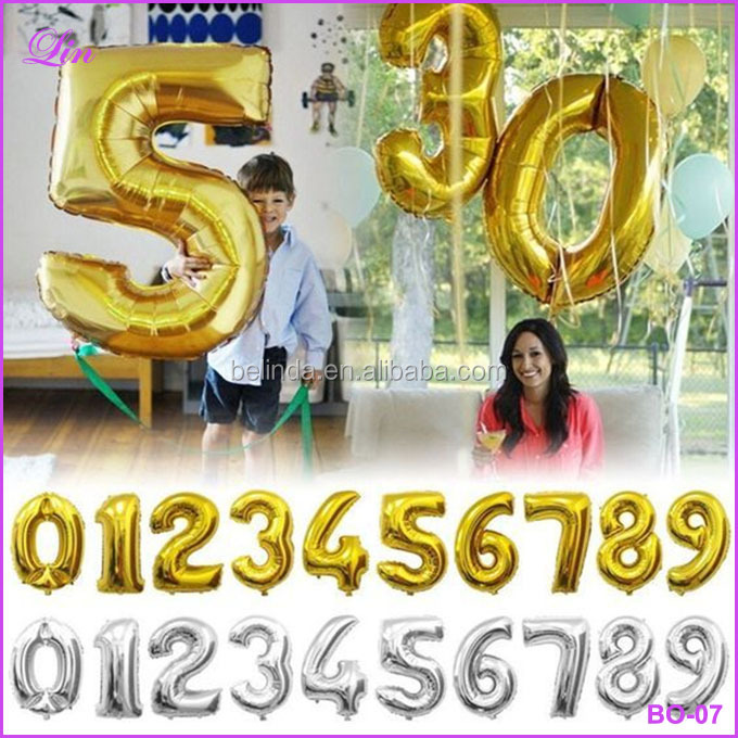 Gold silver number aluminum foil balloons letters helium ballons birthday decoration wedding ballo