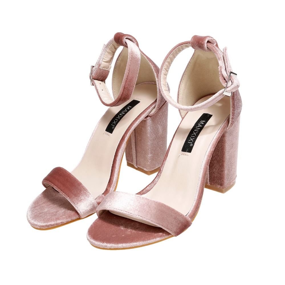 Solid Color Faux Velvet Ankle Strap High Heel <strong>Sandals</strong>