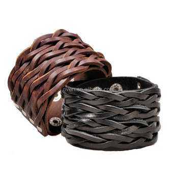 PK0297 Men leather cuffs Wholesale Braided Wide Cuffs punk leather bracelet friendship 2015