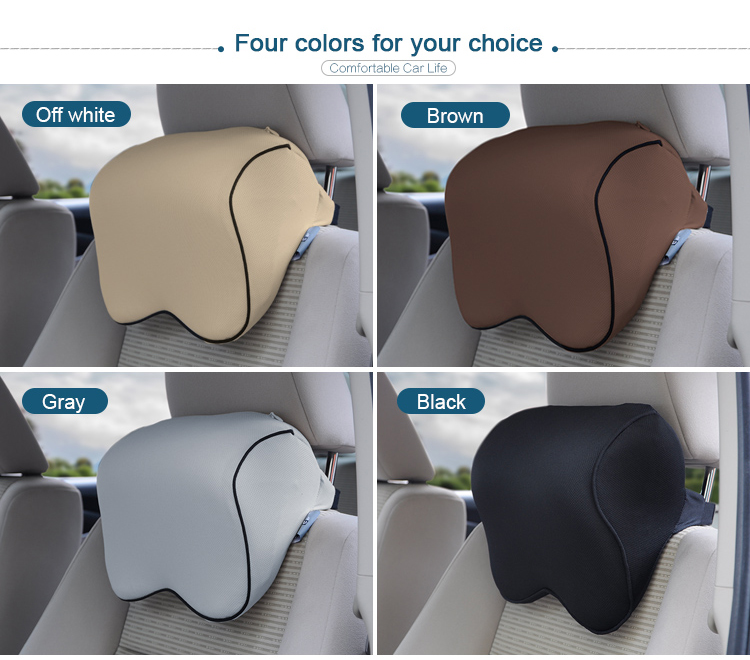 BYC Car Headrest Neck Support Pillow Adjustable Strap 70D Memory Foam Car Seat Pillow