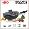 High quality Nonstick pressed Aluminum Wok with air vent glass lid