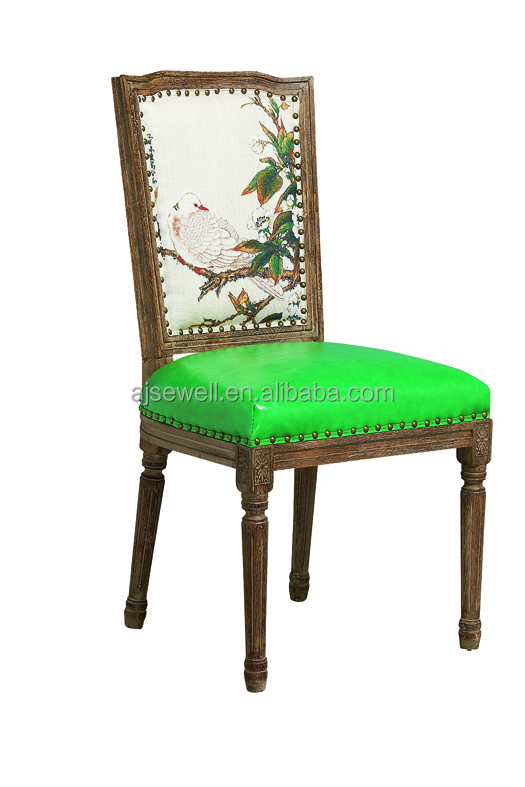Neutral colorful fabric antique glider rocking chair