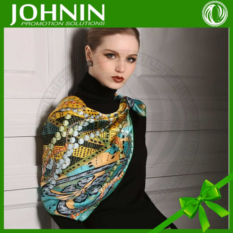 2017 New Promotional Digital Print Custom Design Silk Scarf