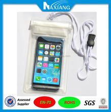 Alibaba China Guangzhou Factory sell white color transparent phone pouch with white lanyard for underwater swimming