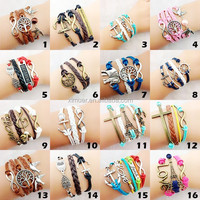 Wholesale alibaba leather bracelet woven bracelet for women charm bracelet