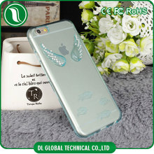 Soft tpu case with angel wings engraved on back cover for iphone 6 case