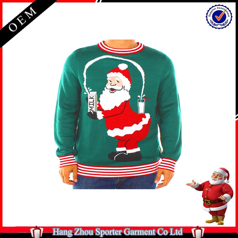 16FZCS71 juggling santa ugly christmas sweater for men christmas pullovers