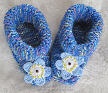 Blue multi-color knit slippers,crochet beaded Alaska state flower,Forget-me-not,wife mom sister daughter gift,baby shoes