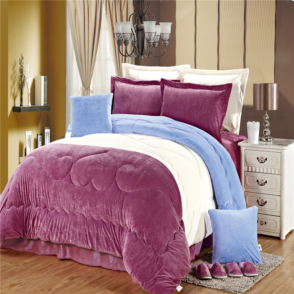 Luxury warm 12 pcs crystal velvet king size fitted bedspreads