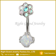 316L Surgical Steel Opal Square Flower Belly Button Ring