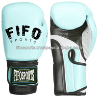 Boxing black gloves in real leather latex padding fighting gear, boxing glove