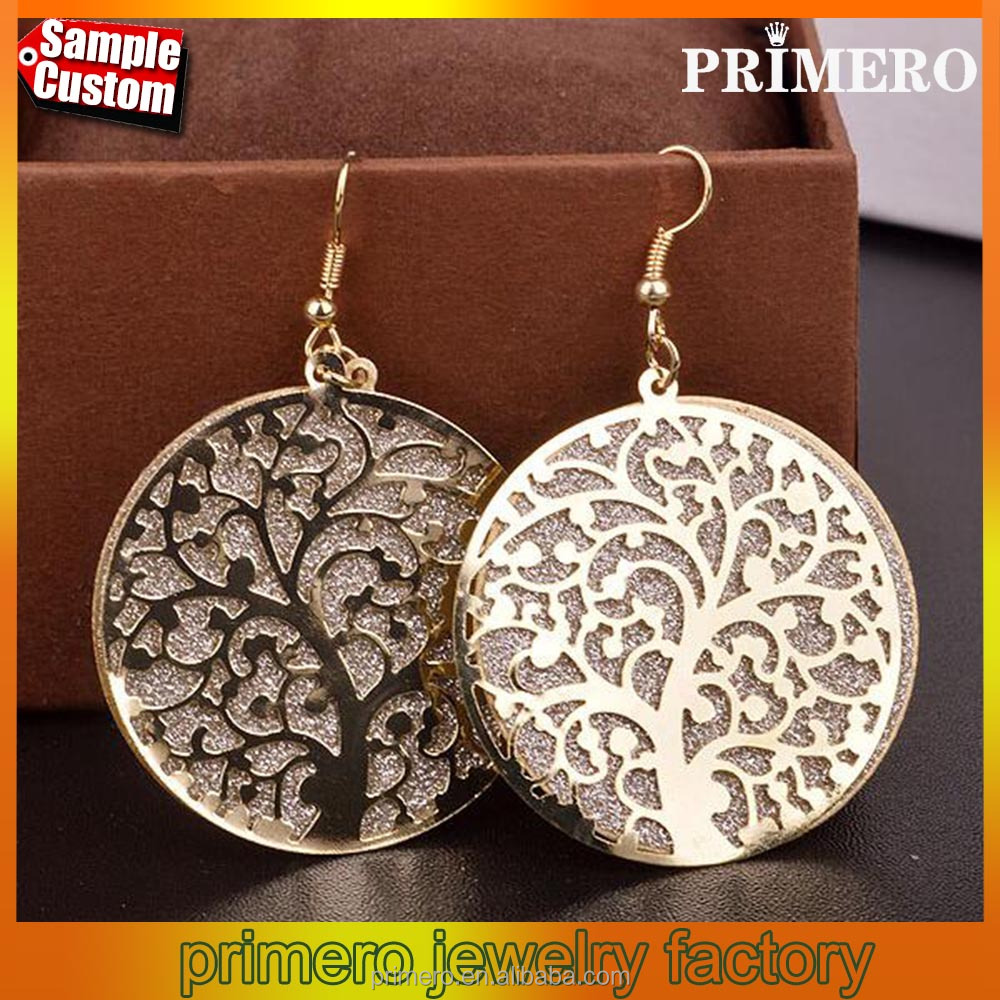 Hot Selling Fashion Matte Popular Elements Hollow Tree Stup Earrings