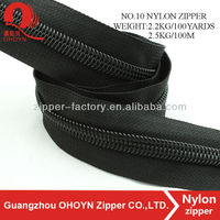 Factory directly sale NO.10 nylon zippers black tape nylon zip long chain