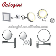 brass LED lighted extendable arms round frame bathroom makeup mirrors