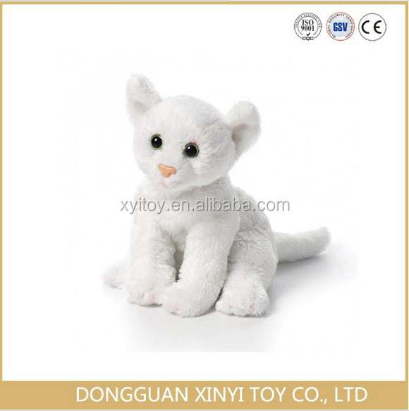Adorable high quality low price lifelike custom white cat plush toy