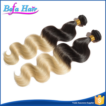 Top grade full cuticle raw 100% unprocessed brazilian ombre blonde hair