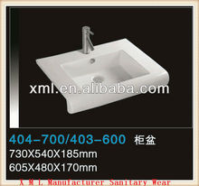 404 Luxury bathroom ceramic bathroom square single wash basin parts