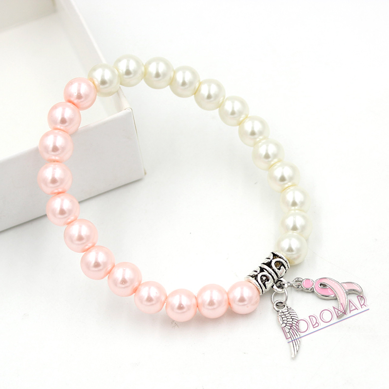 2017 New Arrival Breast Cancer Awareness Jewelry Pearl Pink Ribbon Fighting Gloves Bracelet for Breast Cancer Compaign