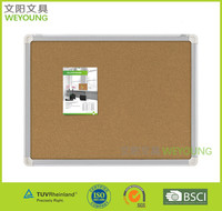 Wall Mounted Soft Cork Memo board for pins with aluminum frame