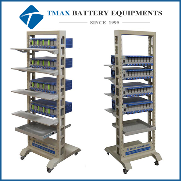 Mobile Rack with Drawer & Four Shelves for Grouping TMAX's 8 Channels Battery Analyzers - EQ-BTS-FW9