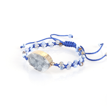 Fashion druzy agate blue beads bracelet , women's macrame bracelet
