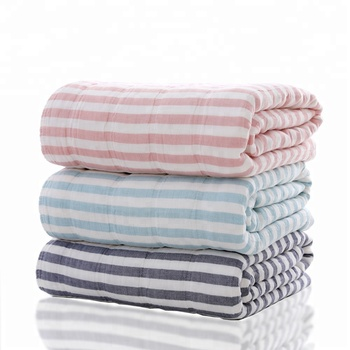 Discount 100% cotton pink super soft plaid stripe blanket