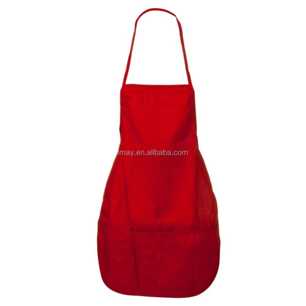 Adult Solid Color Chef Barbecue Kitchen Cooking Bib Apron With Pockets