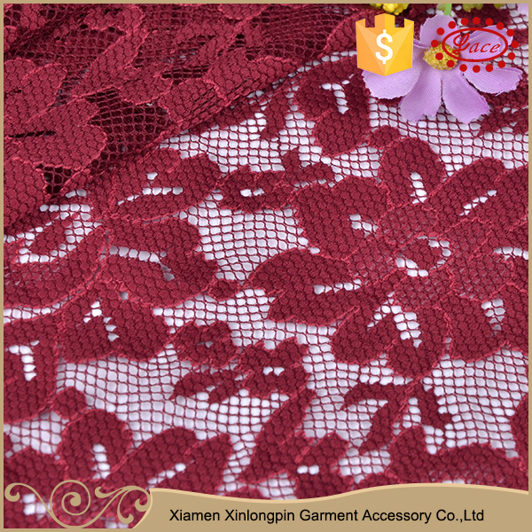 Wholesale elegant dark red nylon lace fabric for lady evening dress