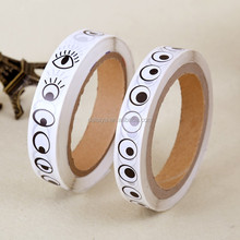 Hot sale black & white eyes pattern paper roll stickers