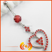 SSBD0087 Curve Barbell Heart Belly Button Ring Crystal Pave Body Jewelry